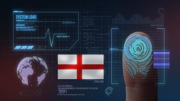 Finger print biometric scanning identification system. england nationality