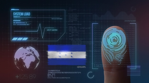 Finger print biometric scanning identification system. honduras nationality