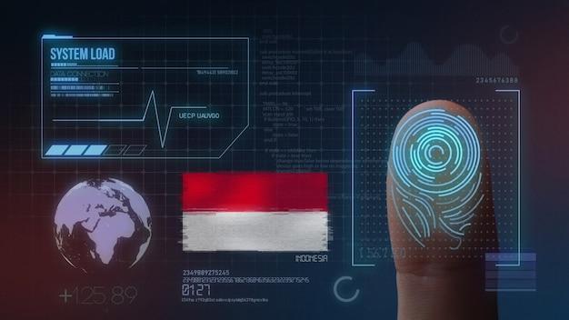 Finger print biometric scanning identification system. indonesia nationality