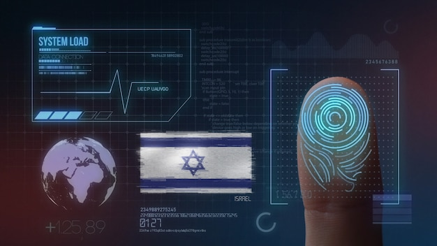 Finger print biometric scanning identification system. israel nationality