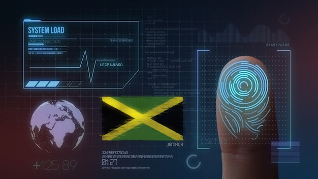 Finger print biometric scanning identification system. jamaica nationality