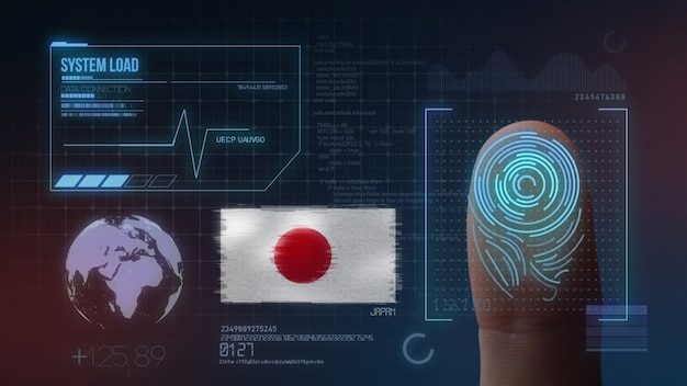 Finger print biometric scanning identification system. japan nationality