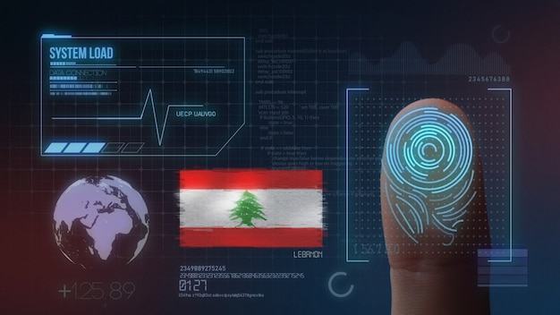 Finger print biometric scanning identification system. lebanon nationality
