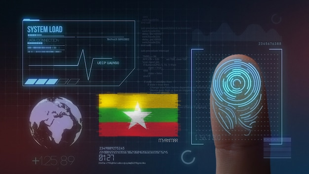 Finger print biometric scanning identification system. myanmar nationality