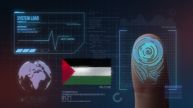 Finger print biometric scanning identification system. palestine nationality