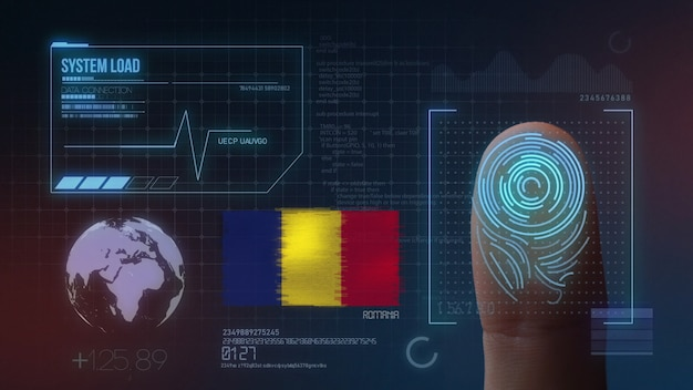 Finger print biometric scanning identification system. romania nationality