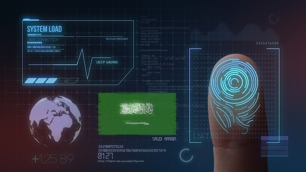 Finger print biometric scanning identification system. saudi arabia nationality