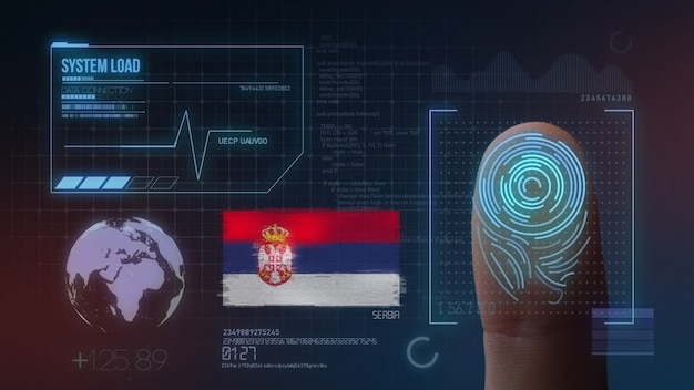 Finger print biometric scanning identification system. serbia nationality