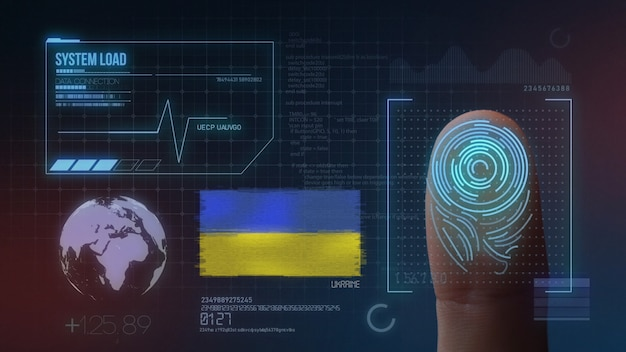 Finger print biometric scanning identification system. ukraine nationality