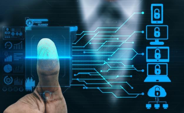 지문 생체 인식 디지털 스캔 기술. 인쇄 스캐닝 식별과 남자 손가락을 보여주는 그래픽 인터페이스. 지문 스캐너를 사용하여 디지털 보안 및 개인 데이터 액세스 개념.