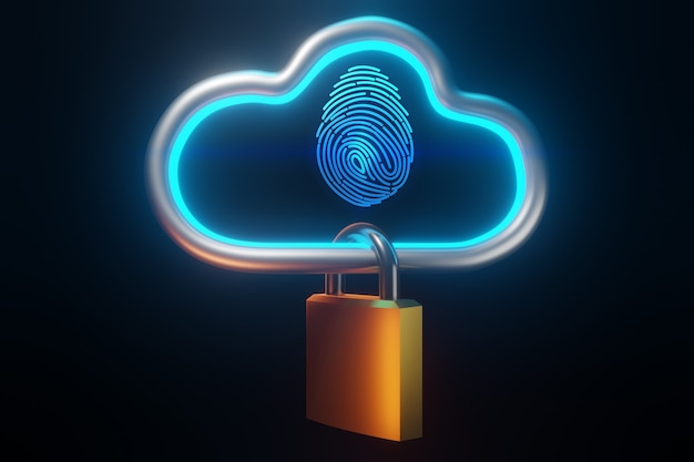 Fingerprint to identify personal.  security cloud technology concept ,  3d rendering