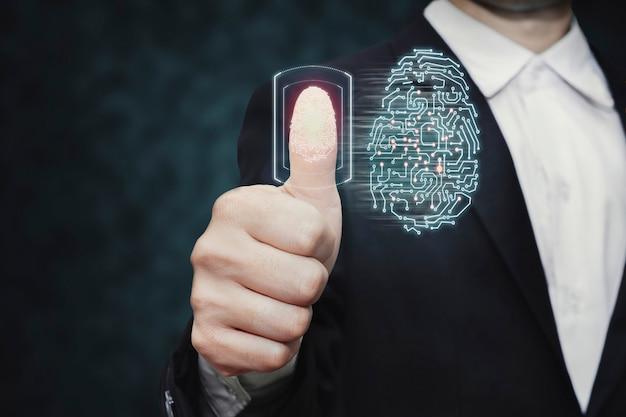 Сканирование отпечатков пальцев для проверки личности для защиты кибербезопасности
