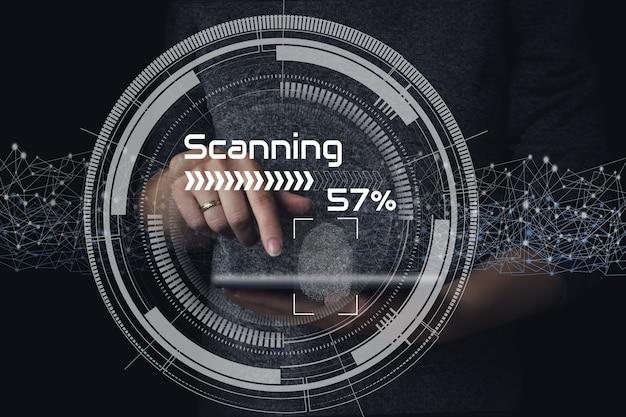 Сканирование отпечатков пальцев на цифровом экране. интерфейс системы идентификации.