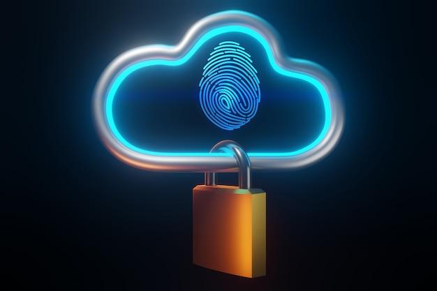 개인 식별을위한 지문. 보안 클라우드 기술 개념, 3d 렌더링