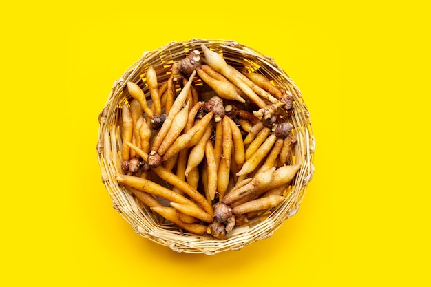 Fingerroot in bamboo basket on yellow background.