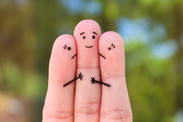 Пальцы арт. концепция двух женщин бороться за одного мужчину.
