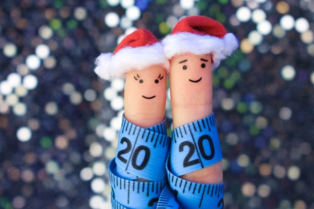 Fingers art of couple celebrates christmas