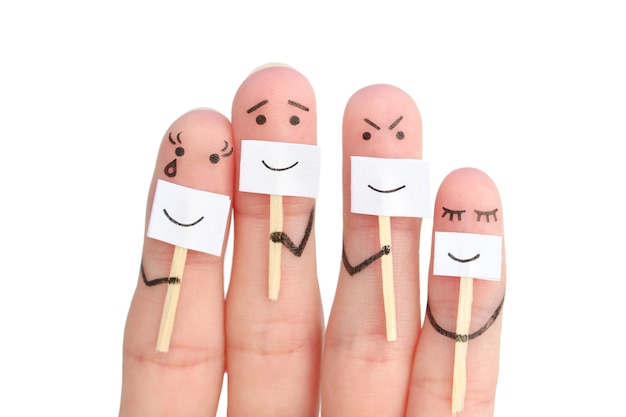 Fingers art of family. concept of people hiding emotions  isolated on white.
