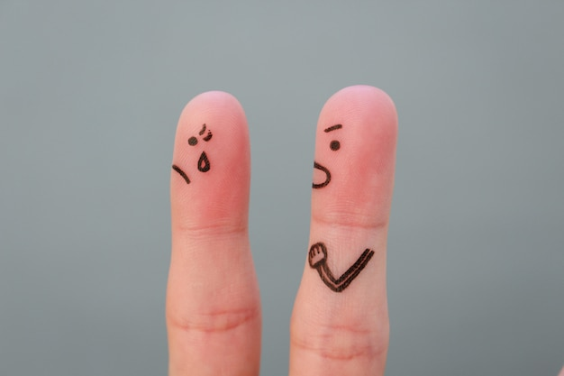 Fingers art of family during quarrel. concept of husband shouts on wife