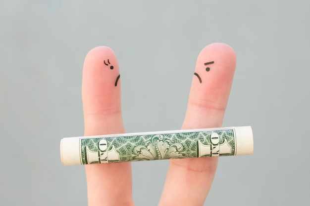 Fingers art of family during quarrel. concept of man and woman can not divide property after divorce.