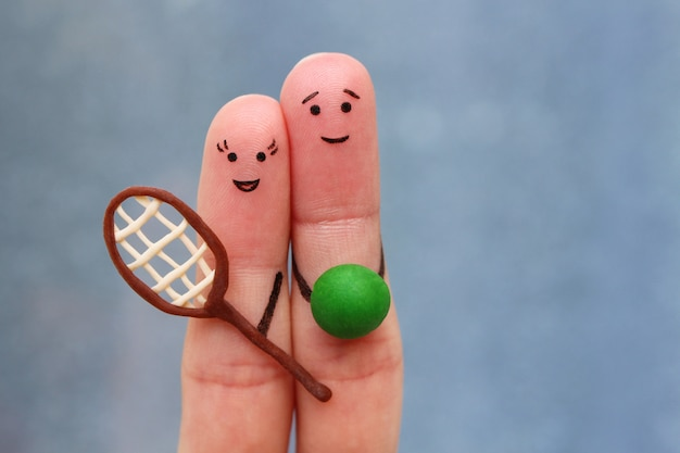 Fingers art of happy couple in sports.