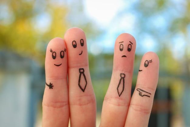 Fingers art of happy couple.