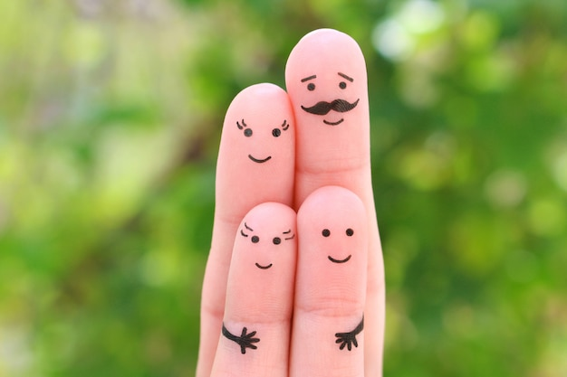 Fingers art of happy family. concept parents and children together.