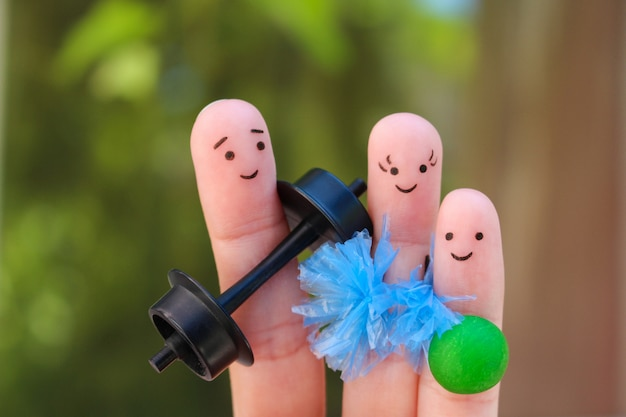 Fingers art of a happy family in sports.