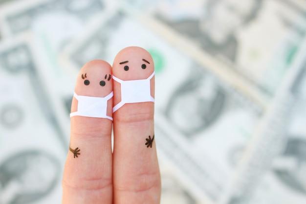 Пальцы искусство пары с лицевой маской на фоне денег.