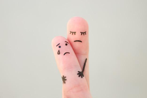 家族の指の芸術。コンセプトシングルマザーは子供と一緒に残されました。