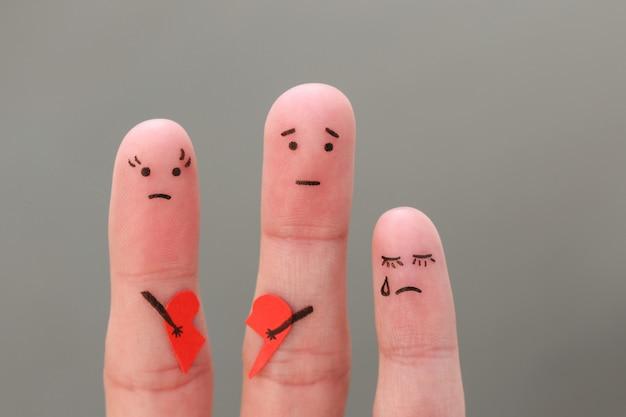 Пальцы искусство семьи во время ссоры. понятие родителей было бороться, ребенок был расстроен.