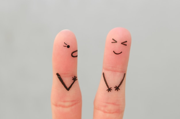 Искусство пальцами семьи во время ссоры