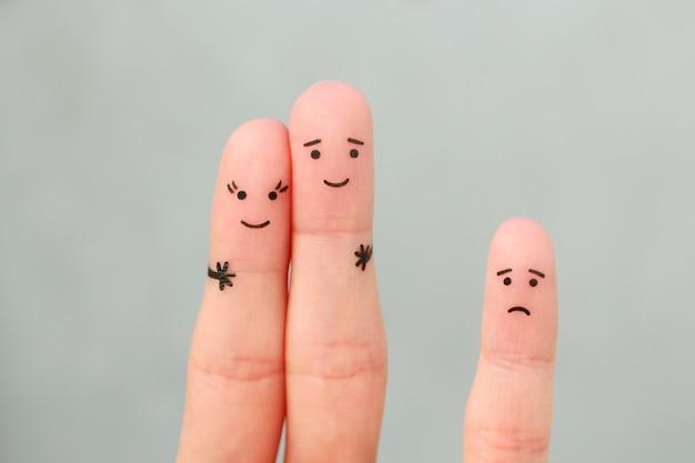 행복 한 커플의 손가락 예술입니다. 아이가 화가 난다.