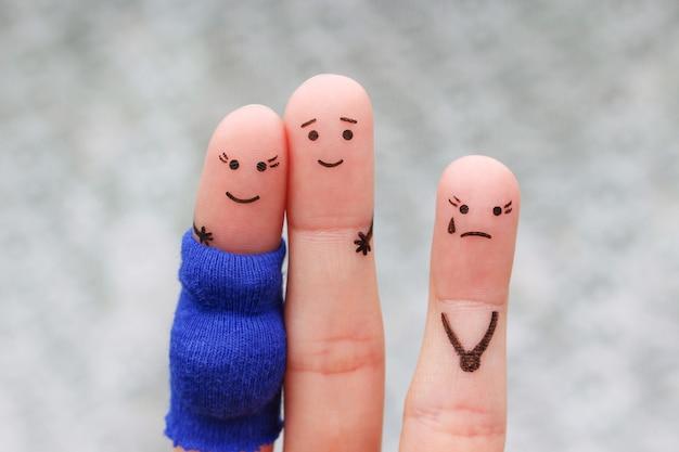Пальцы искусство счастливой пары. женщина беременна. другая девушка ревнует и злится.