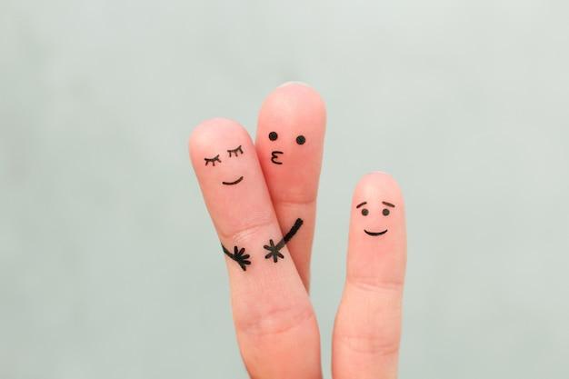 Пальцы искусство счастливой семьи. концепция пара поцелуев, ребенок счастлив.