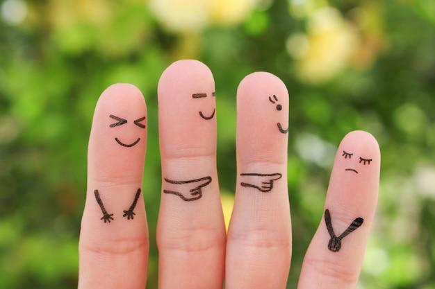 人の指アート。クラスメートをいじめている概念の子供。