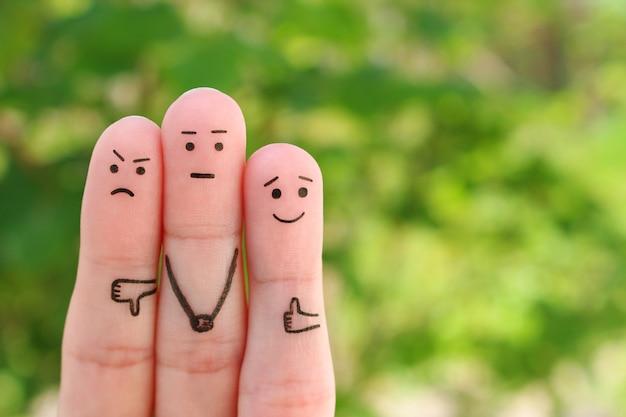 人々の指の芸術。ポジティブな感情とネガティブな感情の概念。