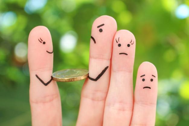 Пальцы искусство грусти семьи. человек возвращает деньги.