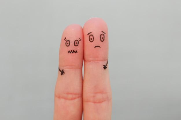 怖いカップルの指アート。男性と女性の概念が怖いです。