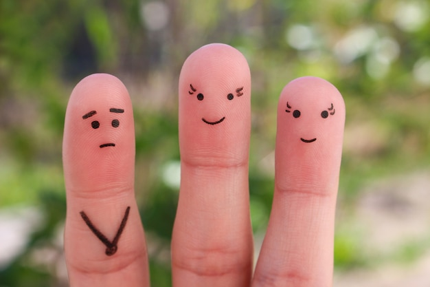 Fingers art of people. concept a man is shy to meet women.