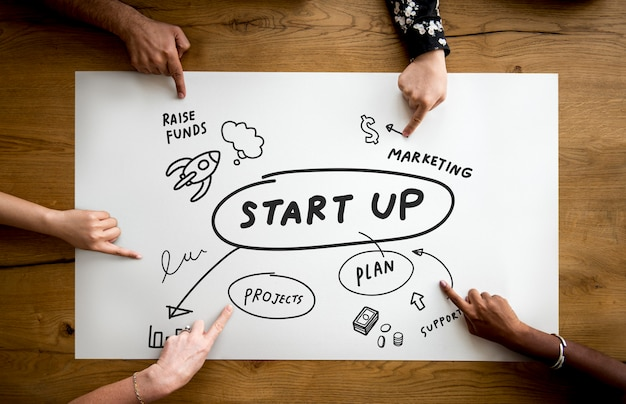 Fingers pointing at a startup plan