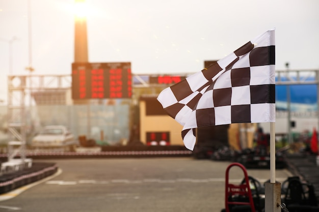 The finish line and checkered flag racing
