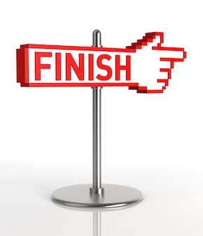 Finish sign 3d rendering
