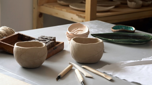 Finished product made of ceramics in the sculptor's workshop