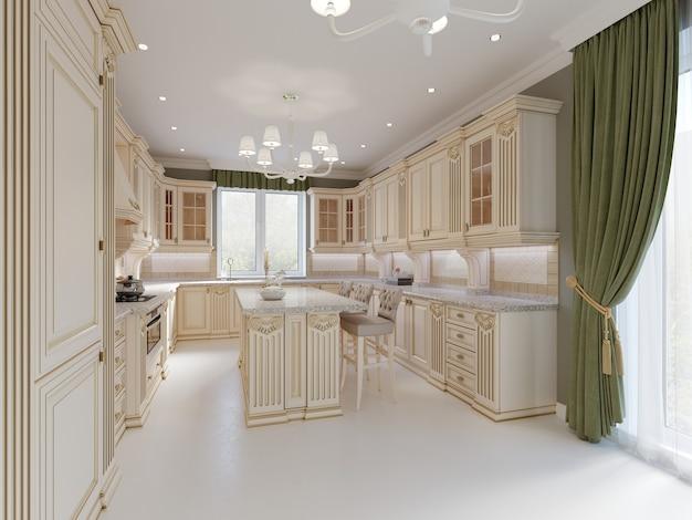 목재 디테일과 대리석 바닥, 고급스러운 조명 인테리어 디자인, 3d 렌더링을 갖춘 클래식 주방의 완성된 프로젝트