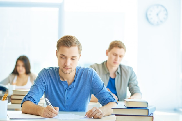 Finishing their exam