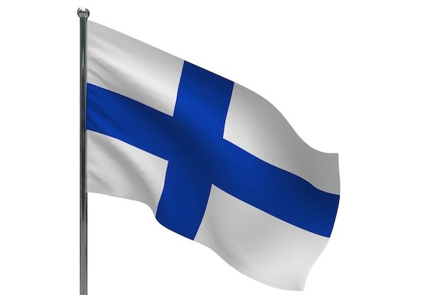 Флаг финляндии на шесте. металлический флагшток. национальный флаг финляндии 3d иллюстрации на белом