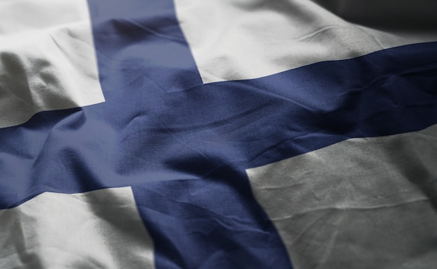 Finland flag rumpled close up