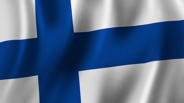 패브릭 질감으로 고품질 이미지로 근접 촬영 3d 렌더링을 흔들며 핀란드 국기