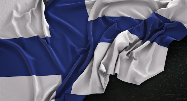 Finland flag wrinkled on dark background 3d render